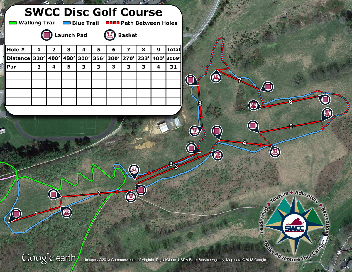 SWCC Disk Golf Course Map