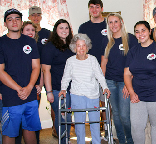 Beautiful Centenarian surrounded by SWCC caring Science Pre-Med Students